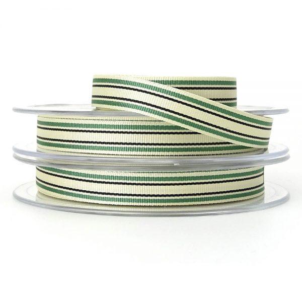 green berisfords deckchair stripe ribbon