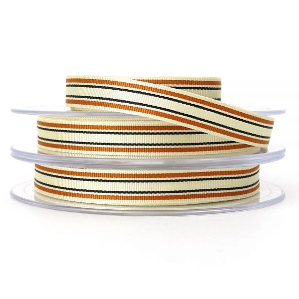 orange berisfords deckchair stripe ribbon