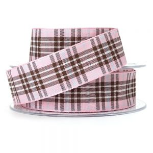 raspberry tartan ribbon berisfords 9437