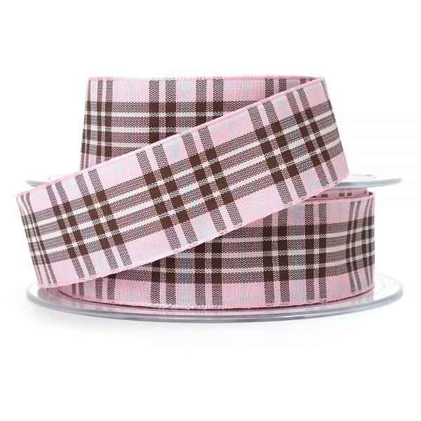 raspberry tartan ribbon berisfords 9437