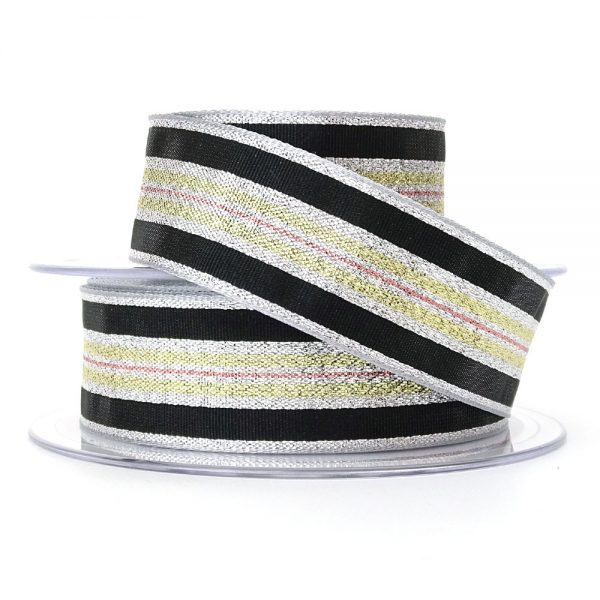 col 2 silver winter stripe ribbon berisfords 60175