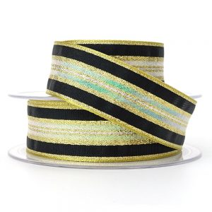 col 4 gold winter stripe ribbon berisfords 60175