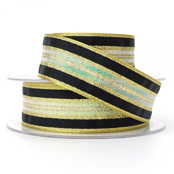 col 4 gold winter stripe ribbon berisfords 60175