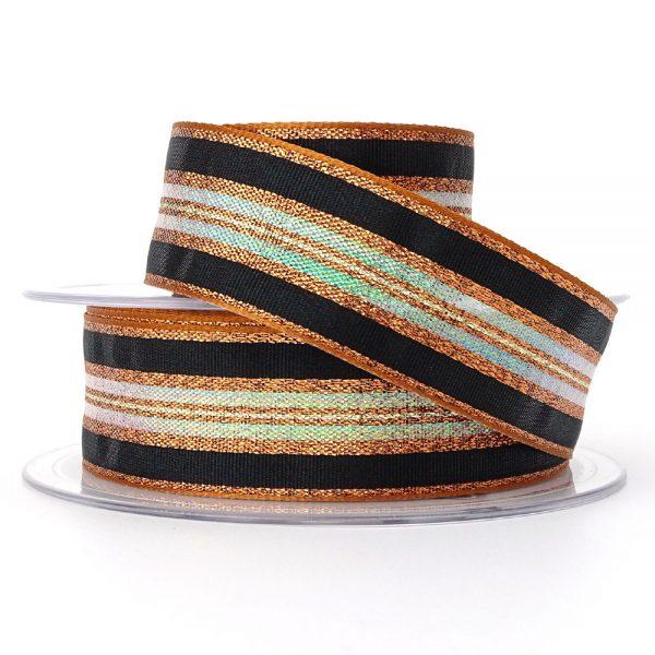 col 5 copper winter stripe ribbon berisfords 60175