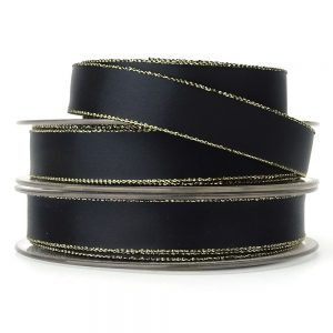 15mm black and gold lurex ribbon