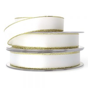 white and gold edge lurex satin ribbon