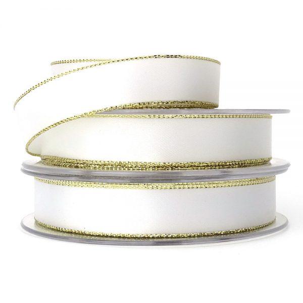 white and gold edge lurex satin ribbon