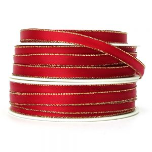 7mm red and gold edge satin ribbon