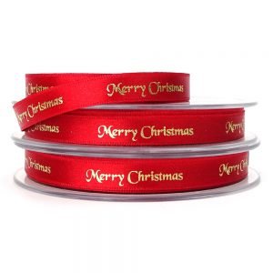 10mm berisfords 12330 red merry christmas ribbon