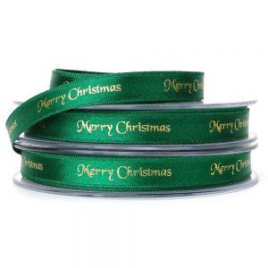 10mm green merry christmas ribbon berisfords 12330