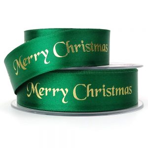 berisfords 12330 green merry christmas ribbon col.455