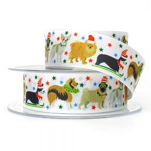 berisfords festive pets ribbon 80352 white