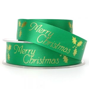 green acetate merry christmas ribbon 24mm