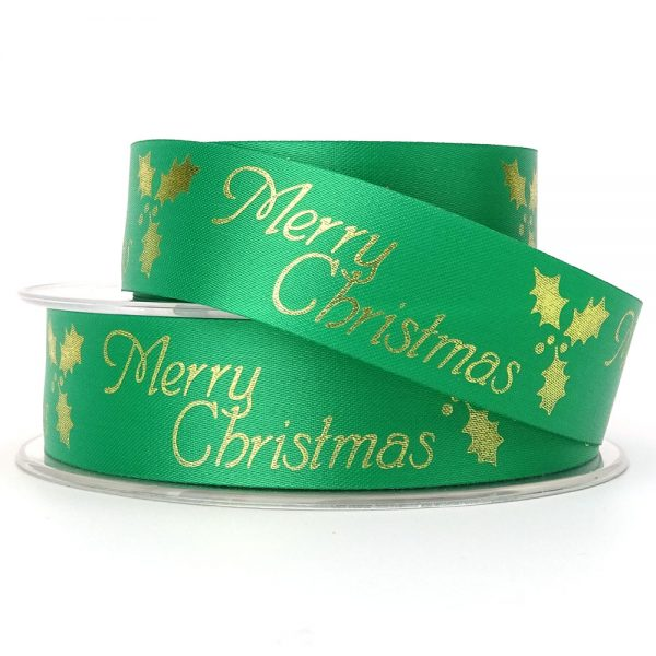 green acetate merry christmas ribbon 24mm