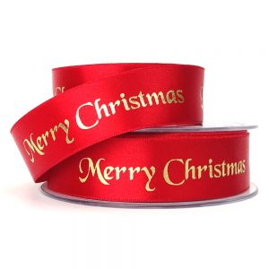 berisfords 12330 red merry christmas ribbon