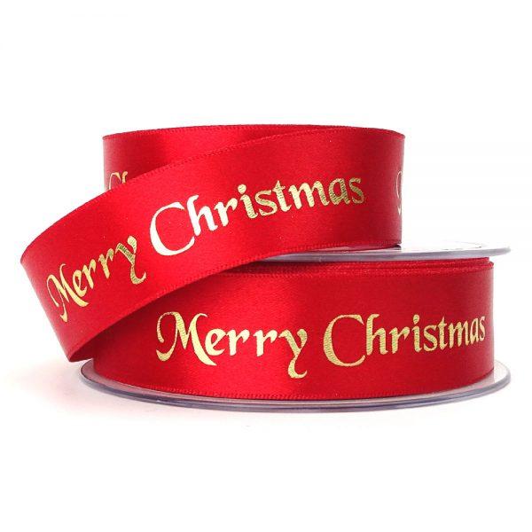 berisfords 12330 red merry christmas ribbon