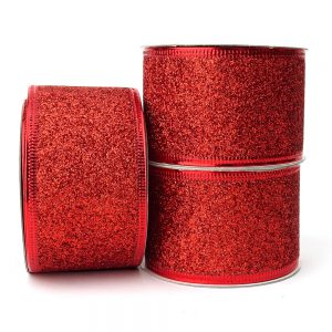 red glitter wire edge ribbon 50mm