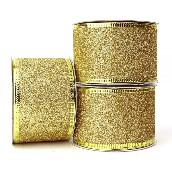 wire edge ribbon glitter gold 50mm