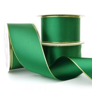 50mm green double sided satin gold edge lurex ribbon
