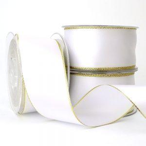 50mm white double sided satin gold edge lurex ribbon