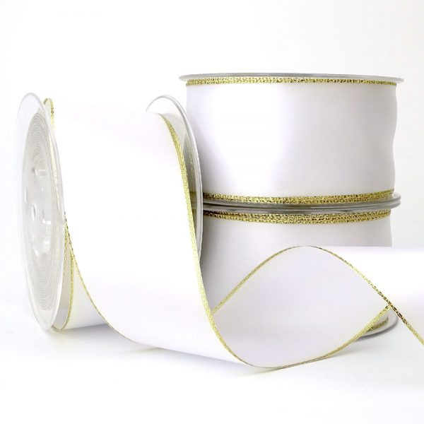 50mm white double sided satin gold edge lurex ribbon