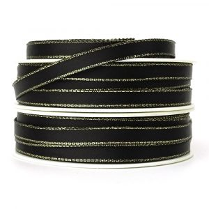 7mm black and gold satin ribbon