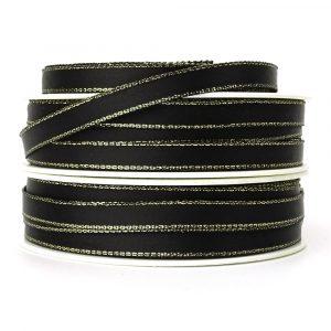 7mm black and gold satin ribbon