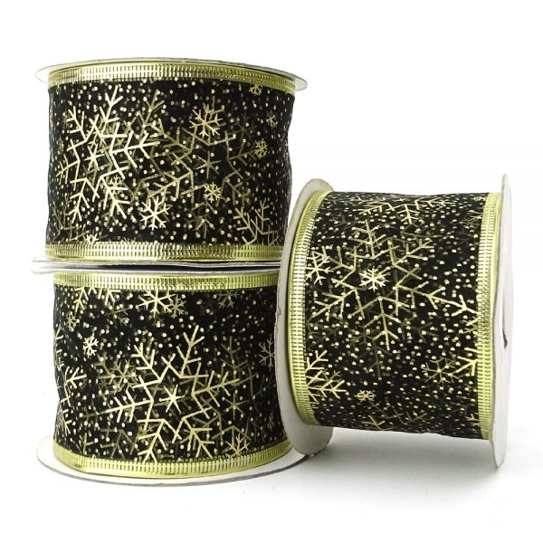 black and gold snowflake wire edge organza ribbon