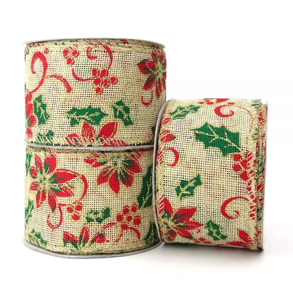 poinsettia and holly hopsack wire edge ribbon