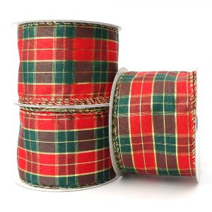 wire edge christmas tartan ribbon