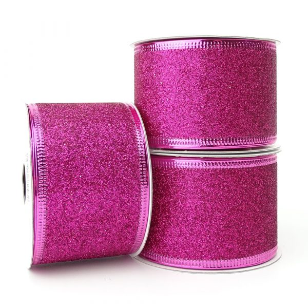 glitter pink wire edge ribbon