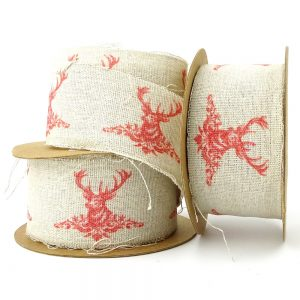 highland stag hessian ribbon