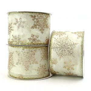 ivory and gold snowflake wire edge ribbon