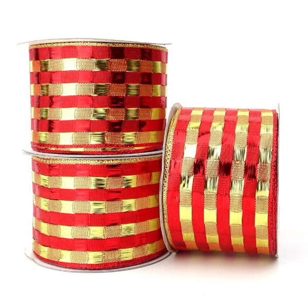 gold and red stripe wire edge ribbon
