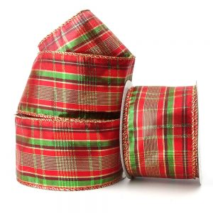 Christmas metallic tartan wire edge ribbon