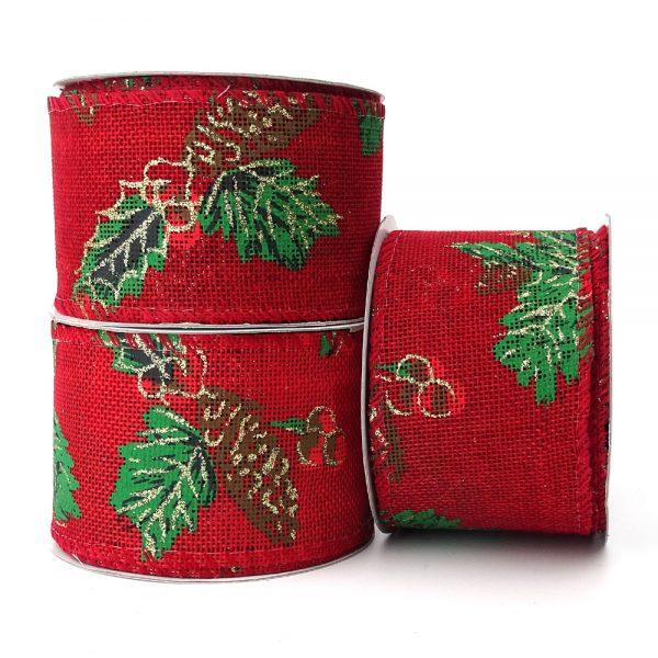 pinecone red hessian wire edge ribbon