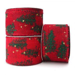 red hessian wire edge christmas tree design ribbon