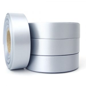 25m silver coin double faced satin 25m roll