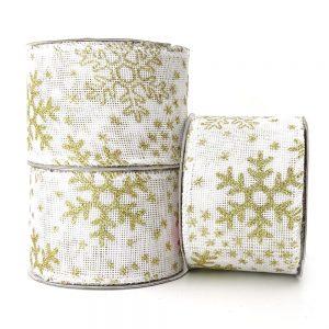 white christmas snowflake hessian wire edge ribbon