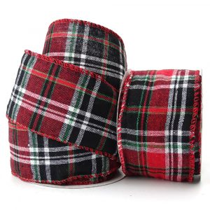 wire edge jersey tartan ribbon