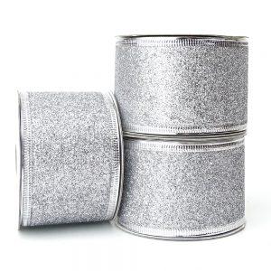 wire edge ribbon glitter silver 50mm