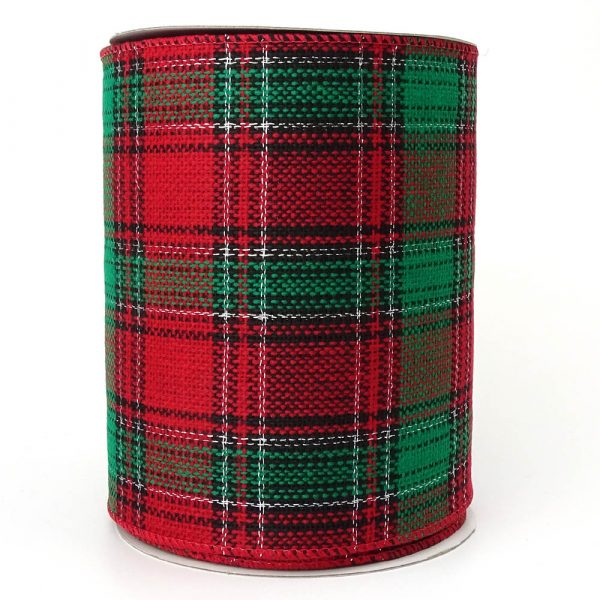 140mm red and green wire edge tartan