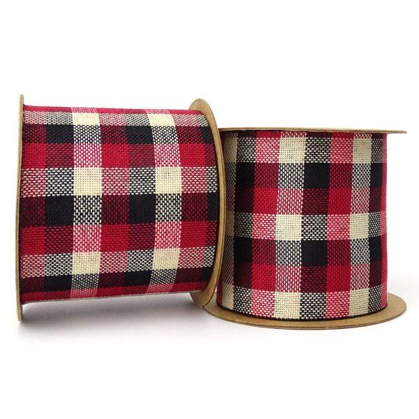70mm black and red rustic tartan