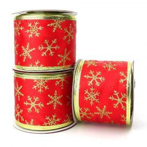 glitter snowflake red satin ribbon