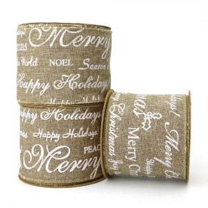 happy holidays hessian ribbon
