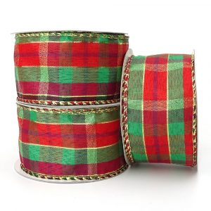highland tartan wire edge ribbon
