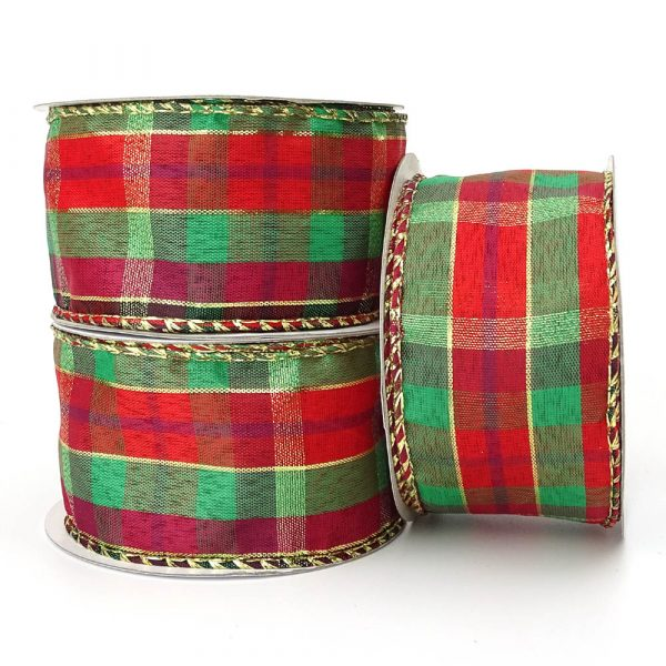 highland tartan wire edge ribbon