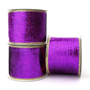 purple shimmer wire edge ribbon