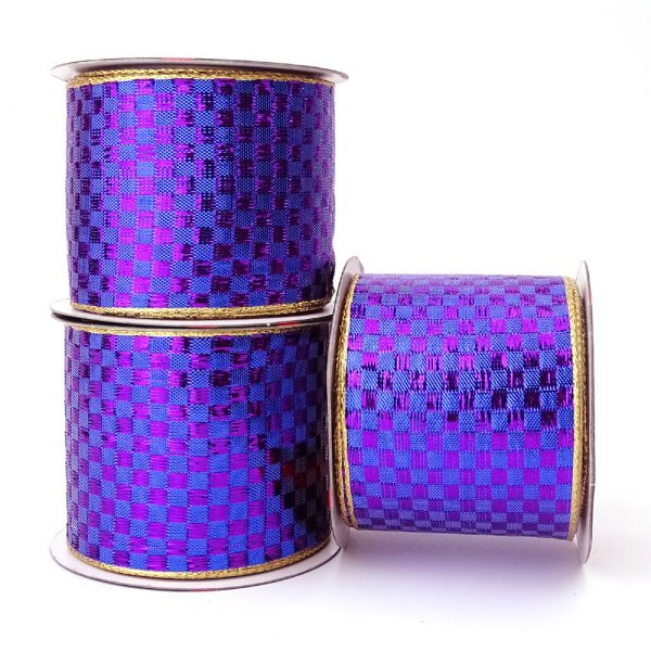 violet checked wire edge ribbon
