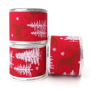 stag and christmas tree wire edge ribbon